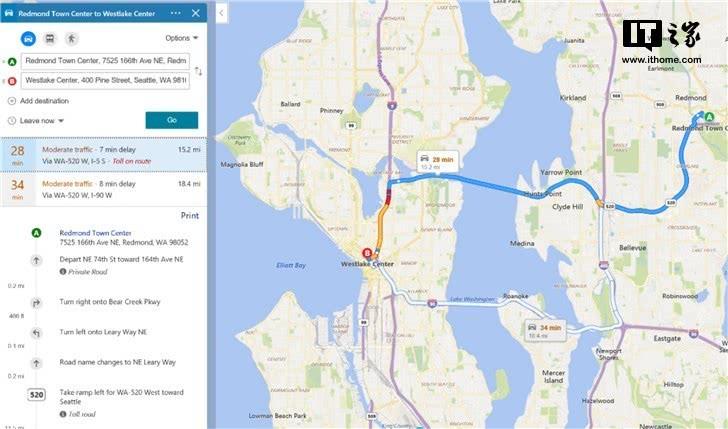 微软必应地图更新:路况信息开始启用彩色标识